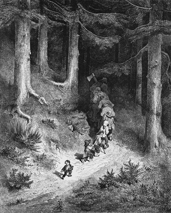 """GUSTAVE DORÉ (Francês: 1832-1883) foi um pintor, desenhista e o mais produtivo e bem-sucedido ilustrador francês de livros de meados do século XIX / """"Le Petit Poucet"""""""