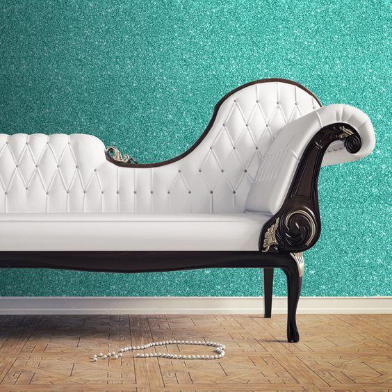 Muriva Sparkle Plain Glitter Wallpaper - Hot Teal - http://godecorating.co.uk/muriva-sparkle-plain-glitter-wallpaper-hot-teal/