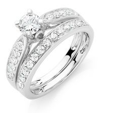 Bridal Set with 1 Carat TW of Diamonds in 18ct White Gold