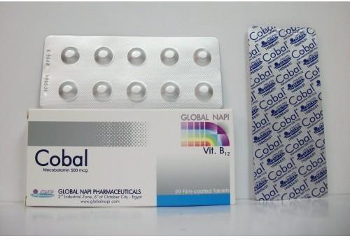 Cobal 500 دواء كوبال هو أحد الادوية التي تعطي الجسم حاجته من فيتامين ب 12 ويتوافر على هيئة أقراص يتم وضعها في الماء للإذابة Cobol Pharmaceutical B12