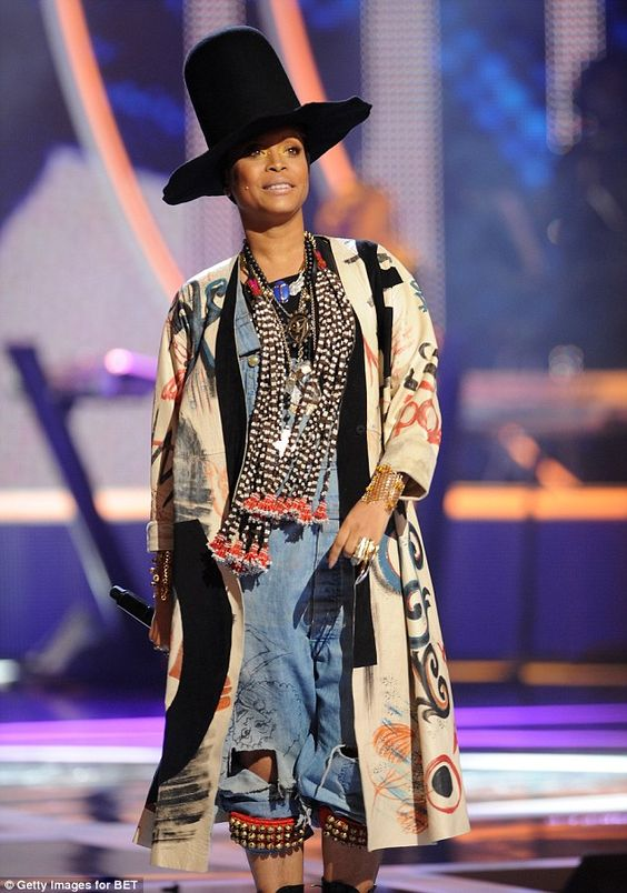 Eclectic: Erykah Badu made a statement in an eye-catching ensemble which consisted of a pa...