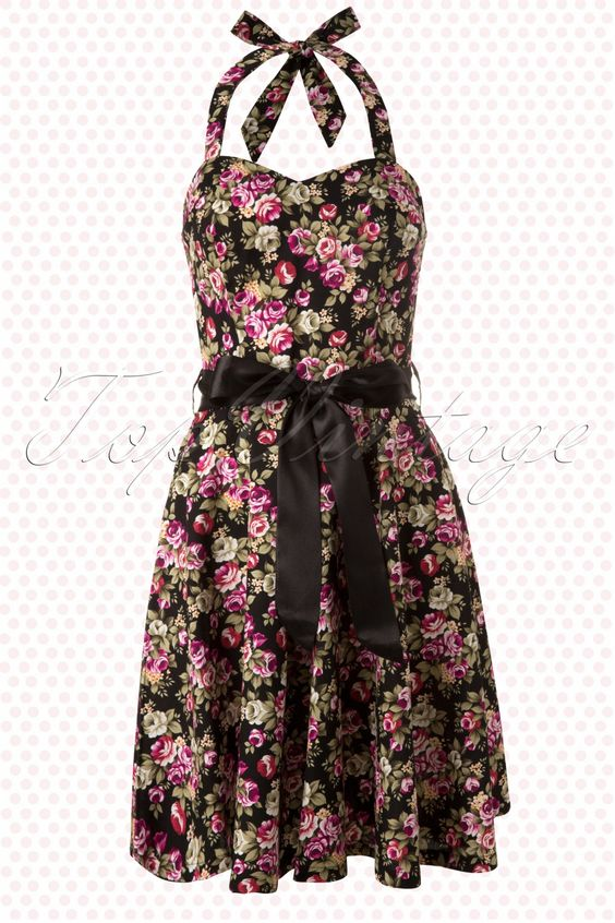 Amy - 50s Sally Small Floral Black Swing Dress