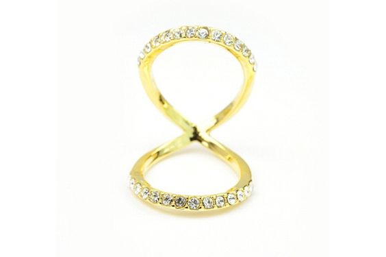 Double Loop Crystal Ring