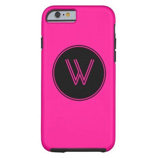 Deep Pink Monogrammed Black Circle iPhone 6 Case