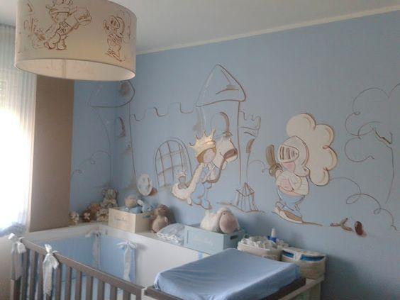 Deco chambre bébé: Peinture murale chambre enfant, Prince avec son château