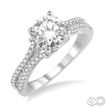 5/8 Ctw Diamond Engagement Ring with 1/3 Ct Round Cut Center Stone in 14K White Gold  Available at Jim Kryshak Jewelers