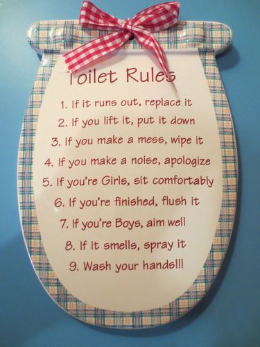Toilet rules cute diy bathroom rules diy crafts for Bathroom decor rules