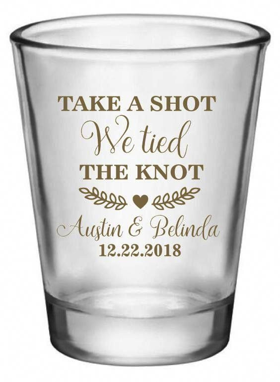 Personalised tied the knot Shot Glass wedding guests party toast drinks favours