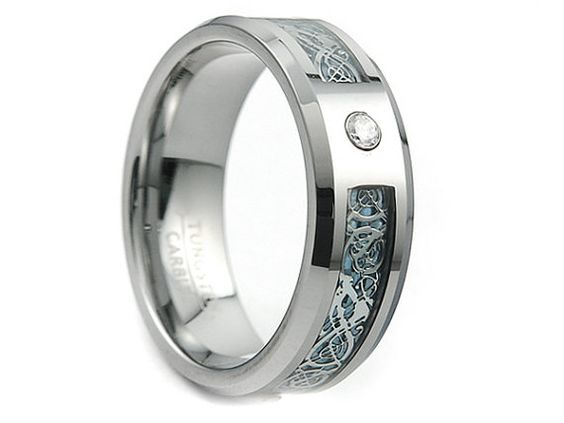 Tungsten Carbide Ring,Celtic Dragon Inlay,Ring,Band,Unisex Tungsten Ring,Light Blue Dragon Inlay,8mm,Tungsten Band, Tungsten Carbide Band