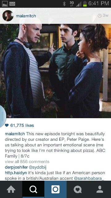Behind the scenes of the fosters from @maiamitch instagram