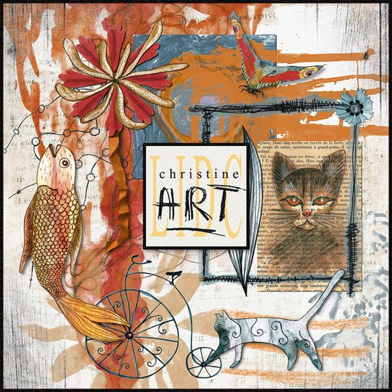 LIDC Digital Scrapbooking Art Kit 1 - cat and fish - chat et poisson - Art Journaling Kit - hand-drawn