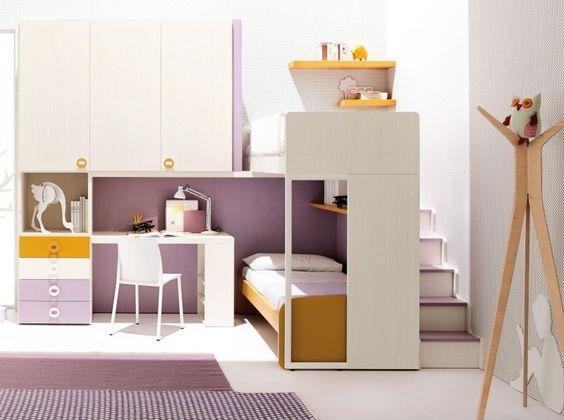 Children Loft Bedroom with Wardrobe and Ladder   loft beds ...