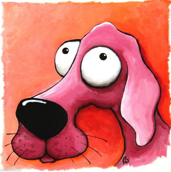 Whimsical pet art - The Pink Dog - Acrylic on textured canvas-like paper