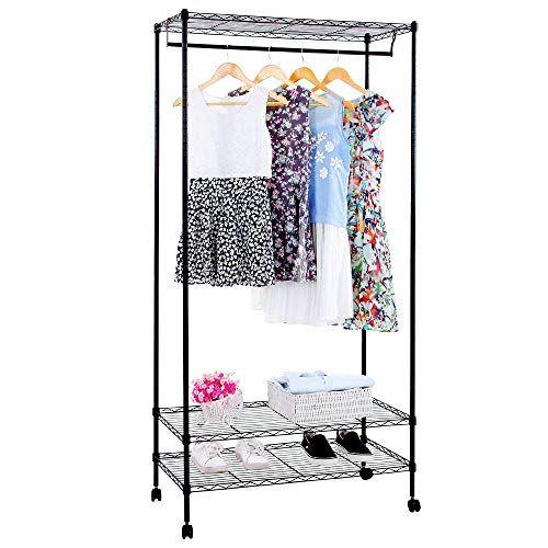 Livebest Garment Rack With Top And Bottom Shelves Metal Storage Clothes Rack Organizer Wit Garment Racks Rolling Clothes Rack Closet Organizers Garment Racks
