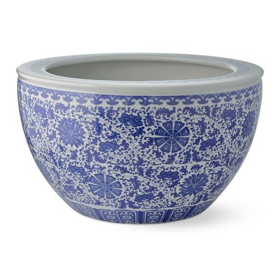 Blue White Ceramic Planter William Sonoma White Ceramic Planter Large Ceramic Planters Ceramic Planters