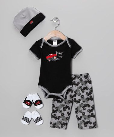 Take a look at this Black Tough Guy Truck Layette Set - Infant by Baby Essentials on #zulily today! $14.99  yes, I KNOW this is boys' stuff... but I may have a boy someday...