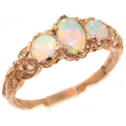 Womens Solid 9K Rose Gold Natural Fiery Opal English Victorian Style Trilogy Ring - Finger Sizes 4 to 12 Available