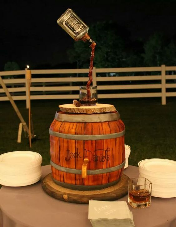 - Jack Daniels whiskey barrel cake with hand painted ...