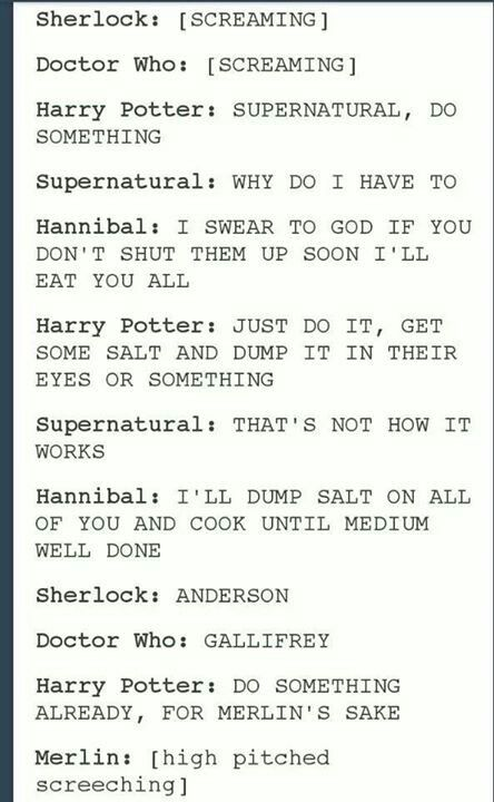 It's funny that the Supernatural fandom is asked to do something when we're probably the least sane (after the Sherlockians of course, but they're just a lost case)