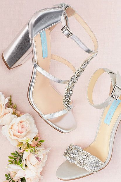 Crystal T-Strap High Heel Sandals with Block Heel By Blue by Betsey Johnson