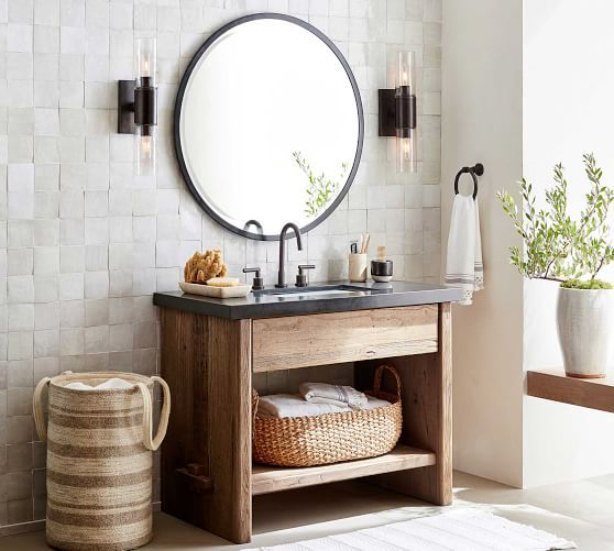 Easton Single Vanity Potterybarn Rustic Bathroom Vanities Bathroom Interior Bathroom Mirror