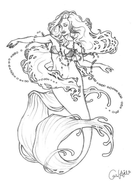 Mucha Mermaid sketch by ~chill07 on deviantART: