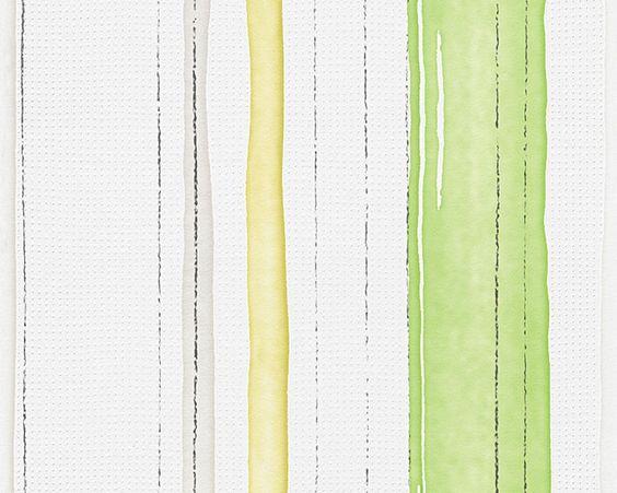 A.S. Esprit 10 - 95826-1 L Tapete Vlies Streifen grün gelb weiß in Heimwerker…