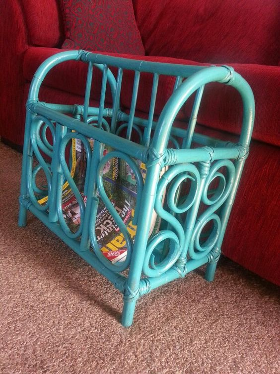 Cane Magazine Rack Updated With A Coat Of Dy Mark Water Based Enamel In The Color Lagoon Then A Coat Of Minwax Oil Modif Crafty Projects Projects Magazine Rack