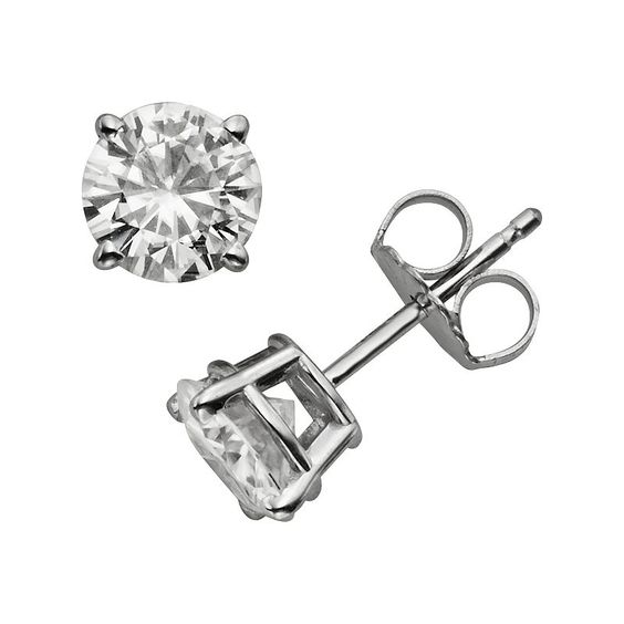 Forever Brilliant 14k White Gold 1 3/5-ct. T.W. Round-Cut Lab-Created Moissanite Stud Earrings, Women's