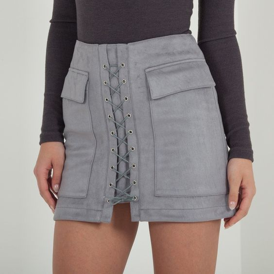 Jackie Mini Skirt in Grey
