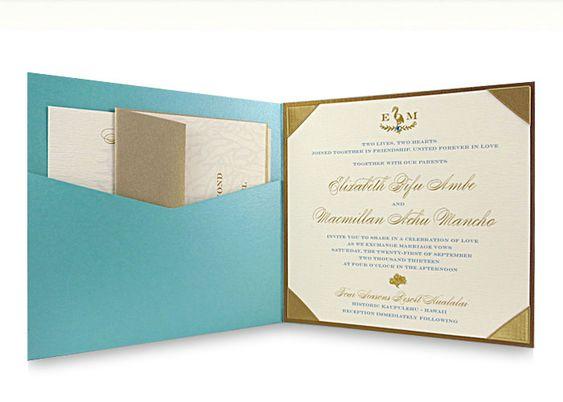 Tiffany Blue Custom Luxury Wedding Invitation Gold Frame Pocketfold Ribbon D M 2017 Pinterest Pocket And