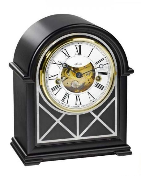 beautiful table clock, made of wood, mother of pearl
