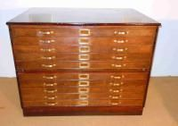 Late 19th century map chest in oak. Stacks/two sections. (Antiquites en France.com)