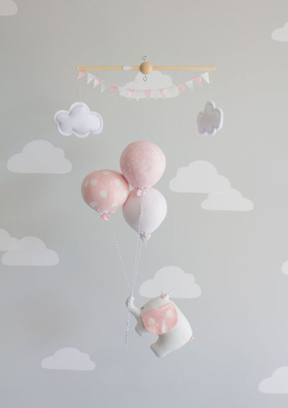 pink elephant baby mobile, girls nursery decor, pink and grey