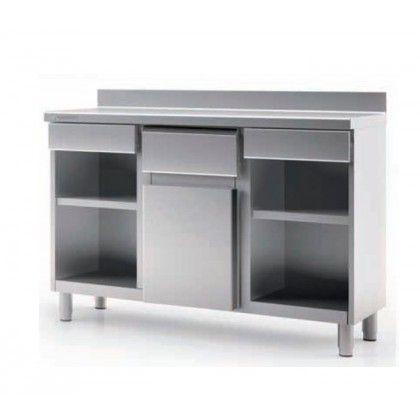 Estantería y Mesa Cafetera Snack SMC-150 Coreco. Exterior en acero inox AISI-304, excepto respaldo. Respaldo en acero plastificado. Apoyos inox