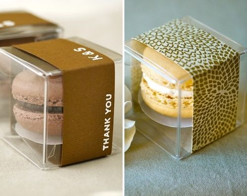 Macarons for your guests! Either as a take home present that can at their seat when they arrive or you can ask the hotel to place a cookie on each of your guests pillows!