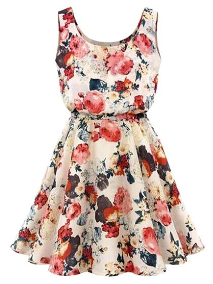 Beige Floral Print Vest Skater Dress
