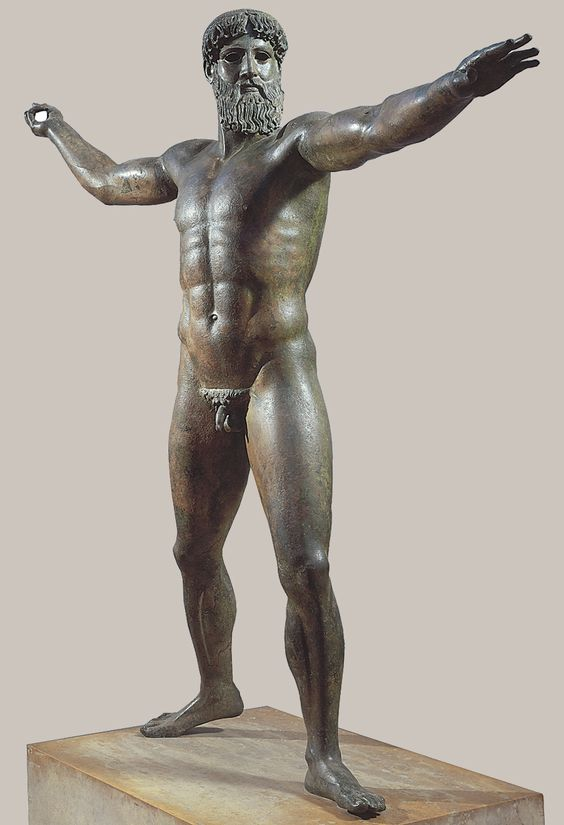 Zeus (or Poseidon?), from the sea off Cape Artemision, Greece, ca. 460-450 BCE.  Bronze, 6′ 10″ high.  National Archaeological Museum, Athens.