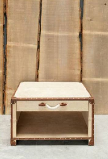 a coffee table that looks like a vintage trunk. Chehoma. May not fit the room though...