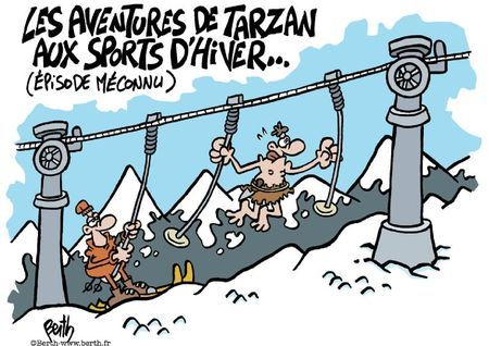 Dessin: les aventures de Tarzan aux sports d'hiver