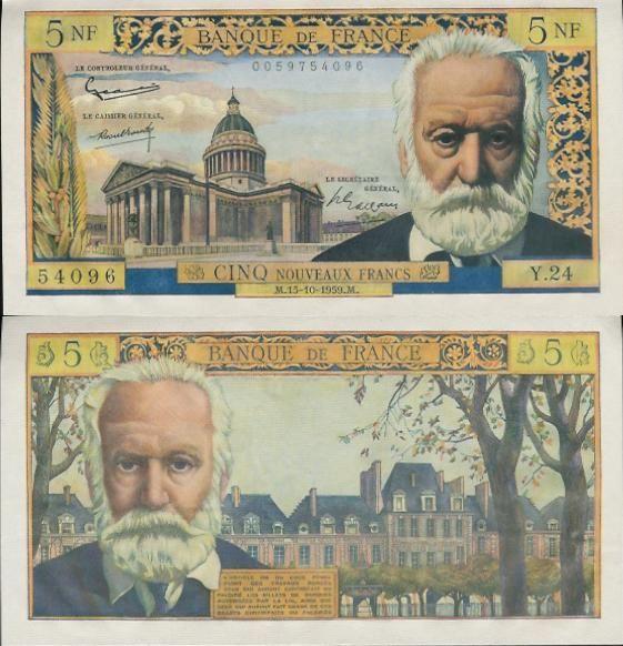 """5 Francs de 1953 (Victor Hugo) . Un billet qu'on me donnait pour """"mon dimanche"""" ."""
