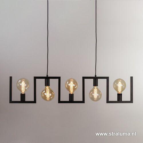 Ongekend Steel lighting - Metalen eettafel hanglamp zwart frame www OW-98