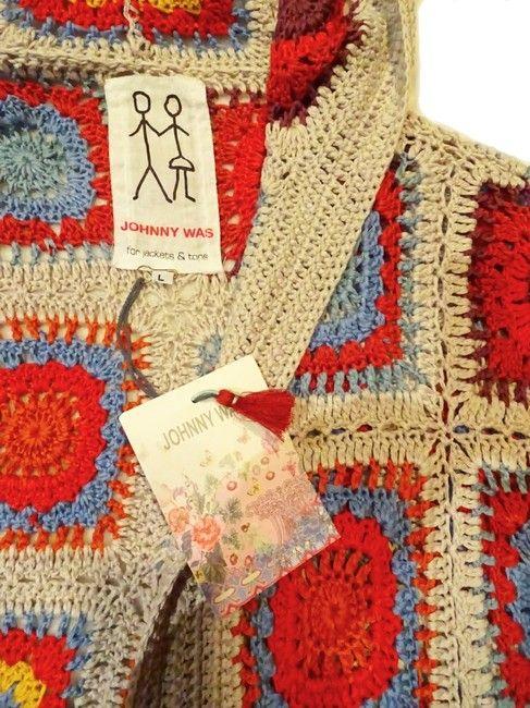 Johnny Was Yvonne Crochet Hooded Cardigan Multicolor Sweater Tradesy In 2020 Multicolor Sweater Crochet Hooded Cardigan