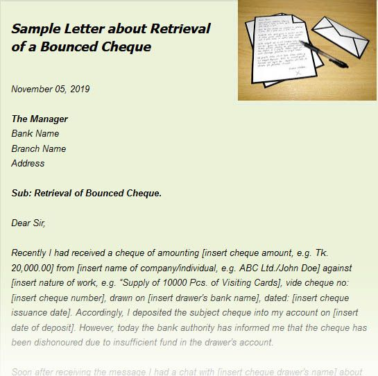 Sample Letter About Retrieval Of A Bounced Cheque Lettering Business Letter Uncommon Words