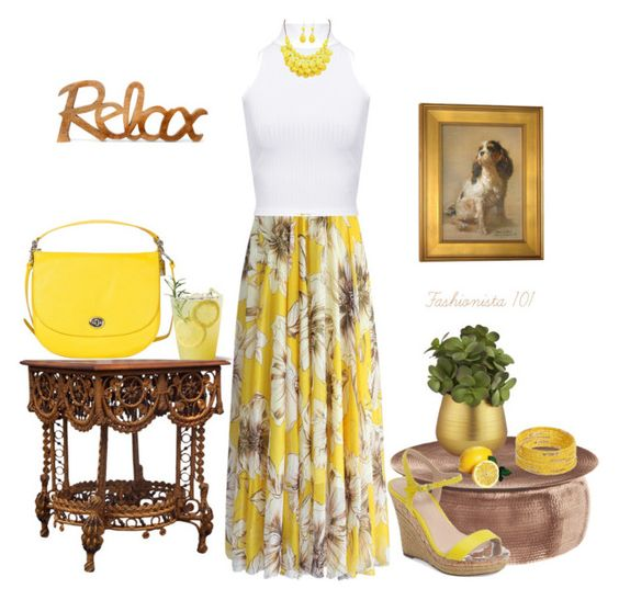 """Relax in Yellow and White"" by amdavis1218 on Polyvore featuring Chicwish, WearAll, Coach, Dorothy Perkins, Charles by Charles David and CB2"