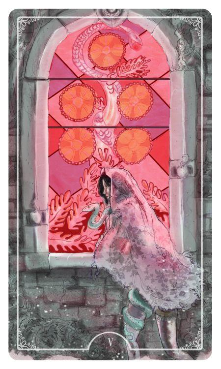 Five of Coins - Ostara Tarot by Molly Applejohn