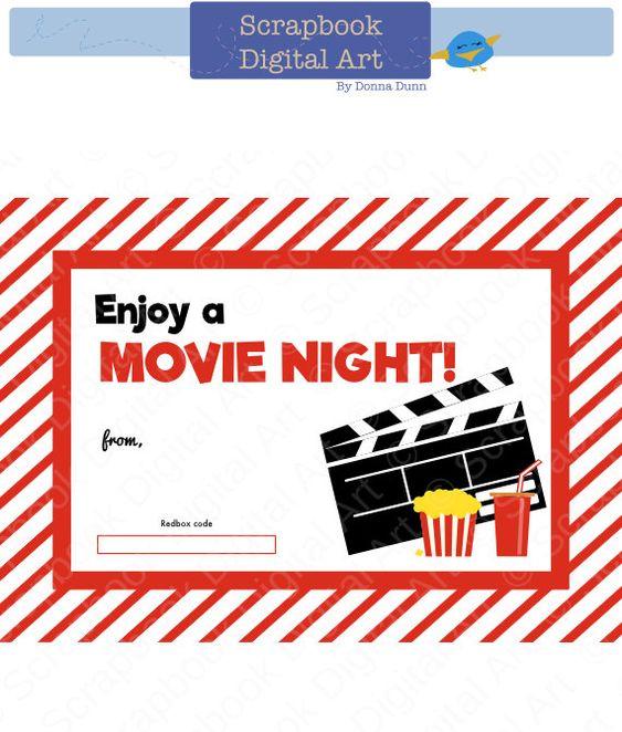 Printable Redbox Gift Card Tag, Printable Card, Movie Night Redbox coupon. by ScrapbookDigitalArt on Etsy