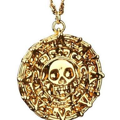 Pirates Of The Caribbean Aztec Antieke Gouden schedel hanger ketting Overdreven Men Fashion Vintage Ketting – EUR € 5.51