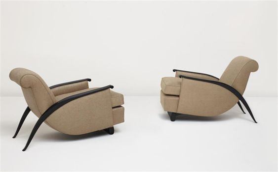2 Gonse #Armchairs model no. 278 NR by Emile-Jaques Ruhlman fetch record at Auction