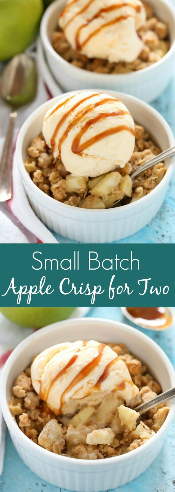 This Apple Crisp for Two Recipe via Live Well, Bake Often is easy to make and a perfect small batch dessert for Valentine's Day Dinner!